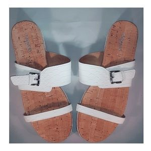 NWOB Coach white two strap flat open toe sandals
